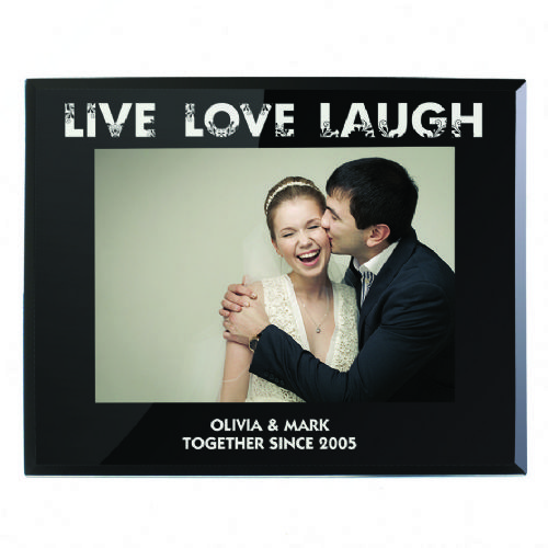 Personalised Live Love Laugh Black Glass 5x7 Frame